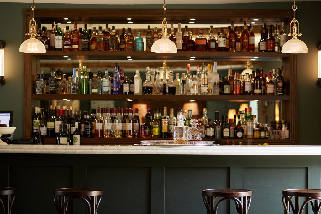The well stocked bar at the Rectory Hotel  in the Cotswolds