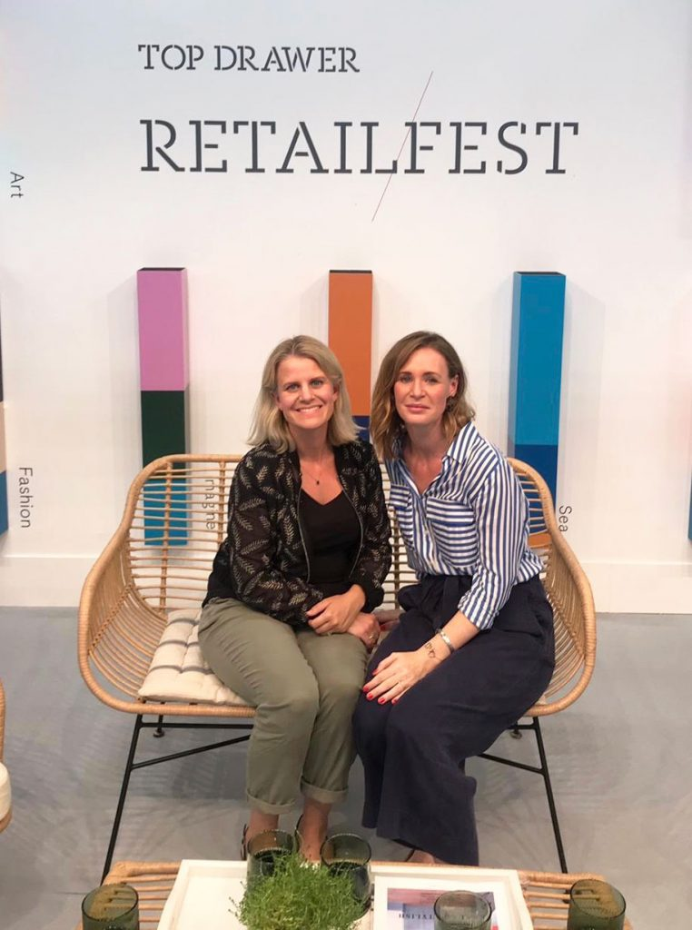 Jessica Jonzen and Rosalind Sack from The Home Page speaking on the RetailFest stage at Top Drawer at London Olympia, September 2019