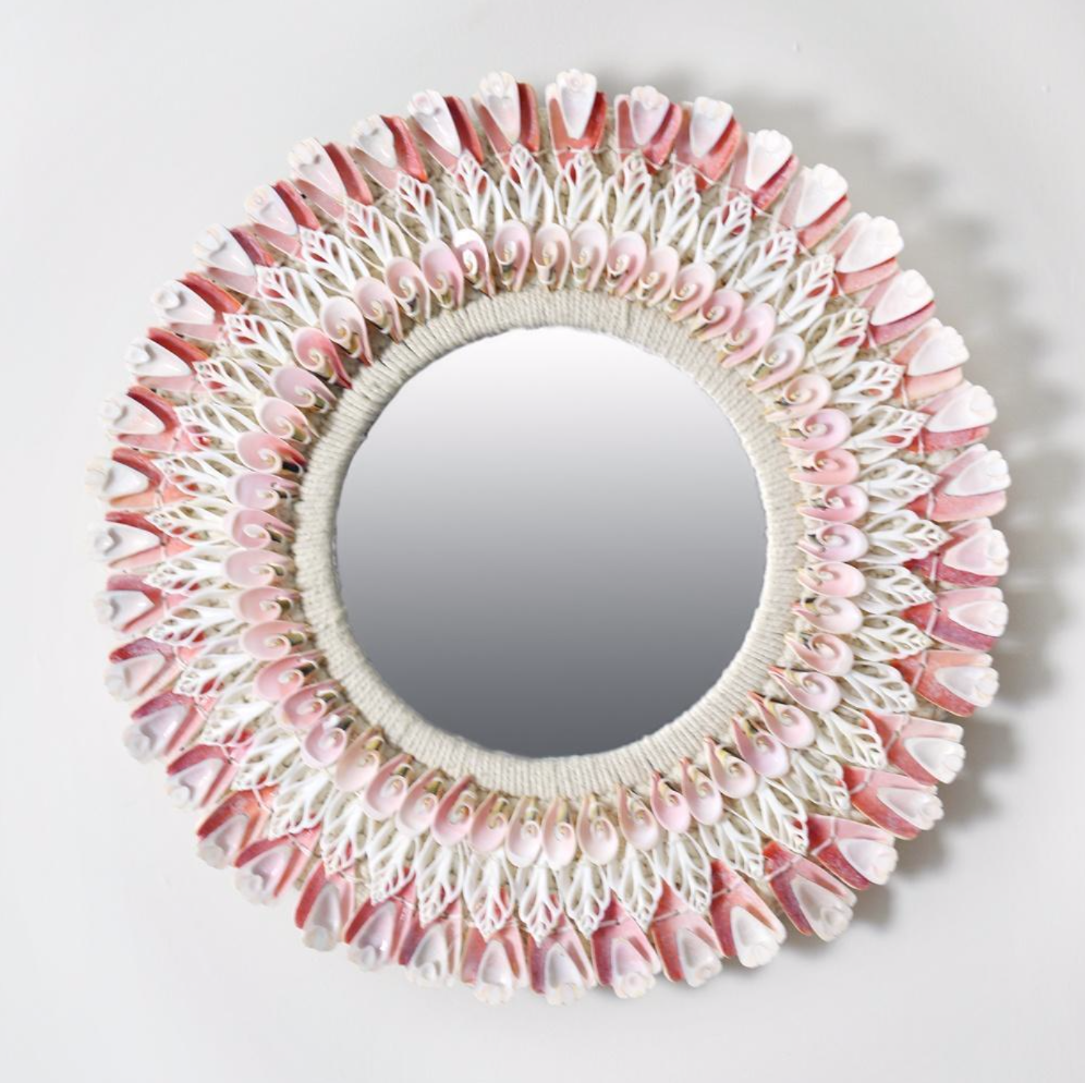 Pink and white cut shell mirror, £110, Cream Cornwall