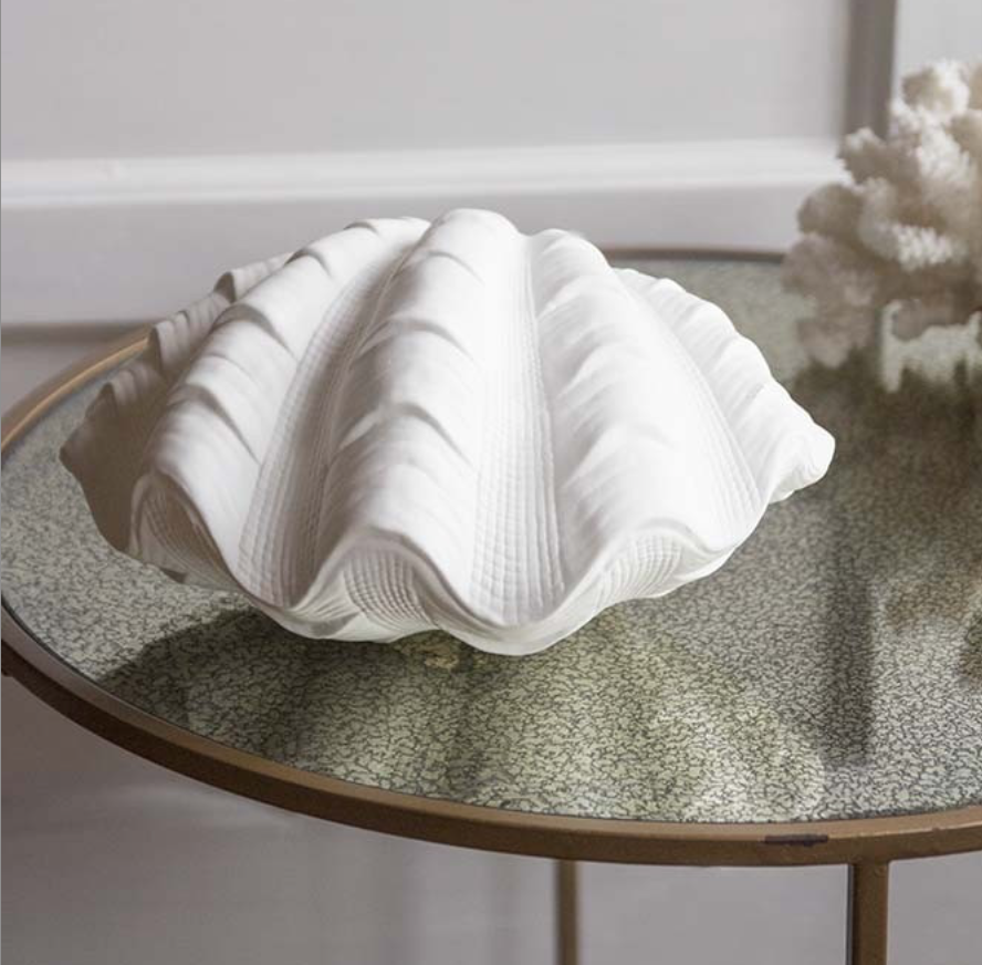 Porcelain clam shell table lamp, £78, Rockett St George