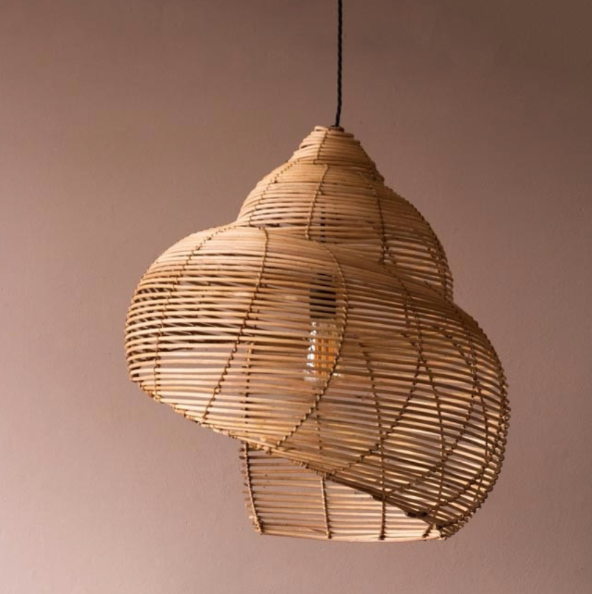 Spiral shell shaped rattan ceiling light, from £180, Rockett St George