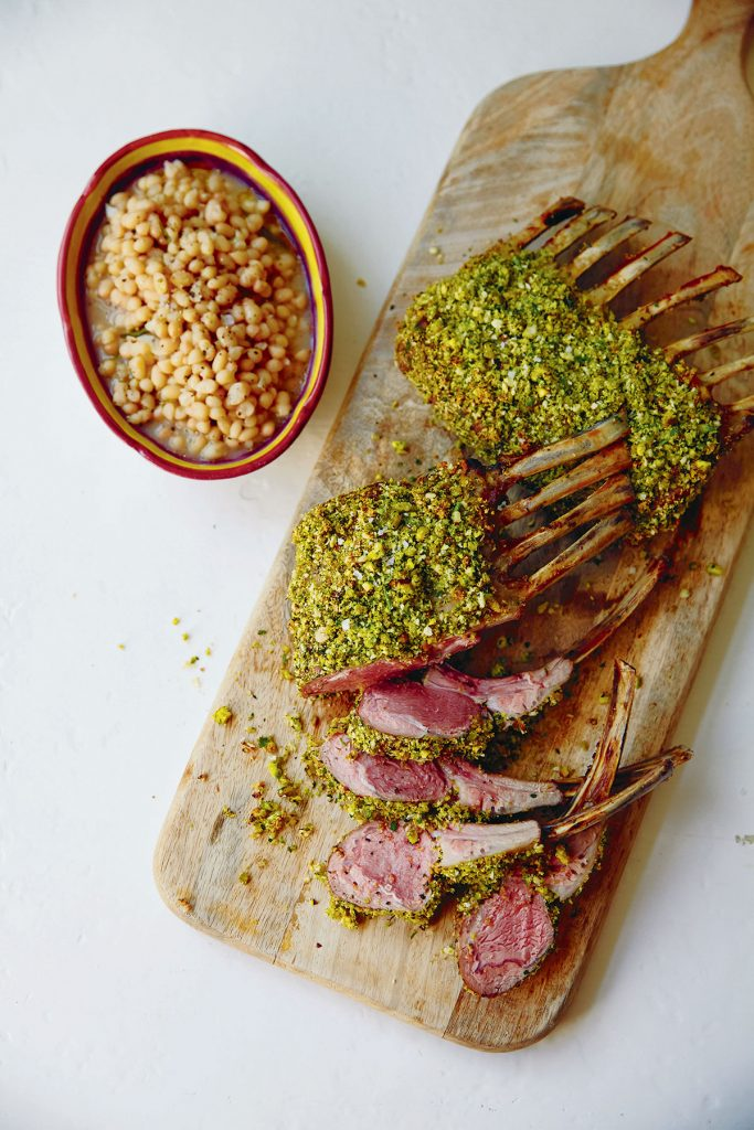 Lamb with Pistachio Herb Crust from the Table Manners with Jessie Ware cookbook