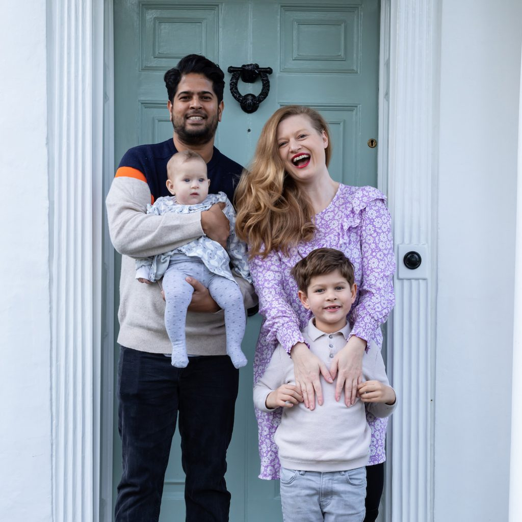 Crafting influencer and founder of Makebox + Co Hannah Read-Baldrey with husband Brendan outside their front door