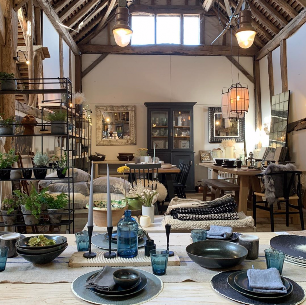 Reclaimed dining table, vintage plant pots, antique armoire and rustic homeware at Home Barn vintage furniture and homeware store in Marlow, Buckinghamshire