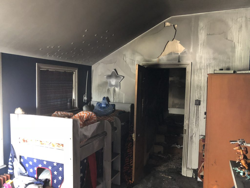 Laura Cave's son's bedroom damaged by the electrical house fire in 2018