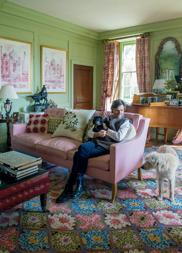 Edward Bulmer with his dogs from At Home in English Countryside Designers and their Dogs by Susannah Salk © Stacey Bewkes