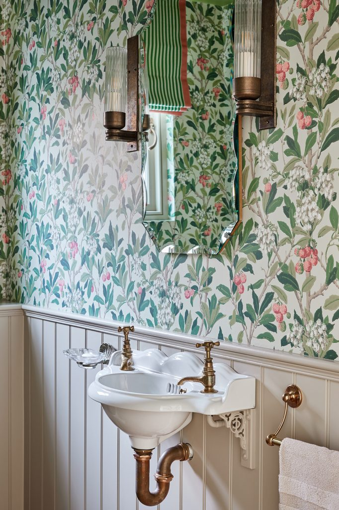 Laura Stephens WC basin detail Cole & Son wallpaper © Chris Snook