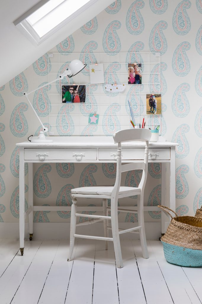 Laura Stephens girl's bedroom desk paisley wallpaper © Chris Snook