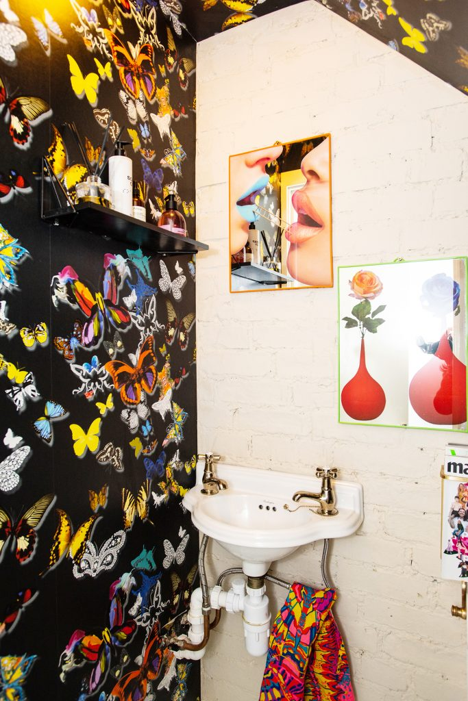 Natalie Lee Style me Sunday downstairs WC Christian Lacroix wallpaper © Wendy Aldiss Photography