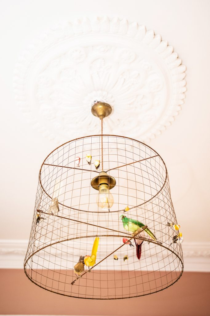 Voliéres bird cage light in Natalie Lee Style Me Sunday's sitting room © Wendy Aldiss Photography