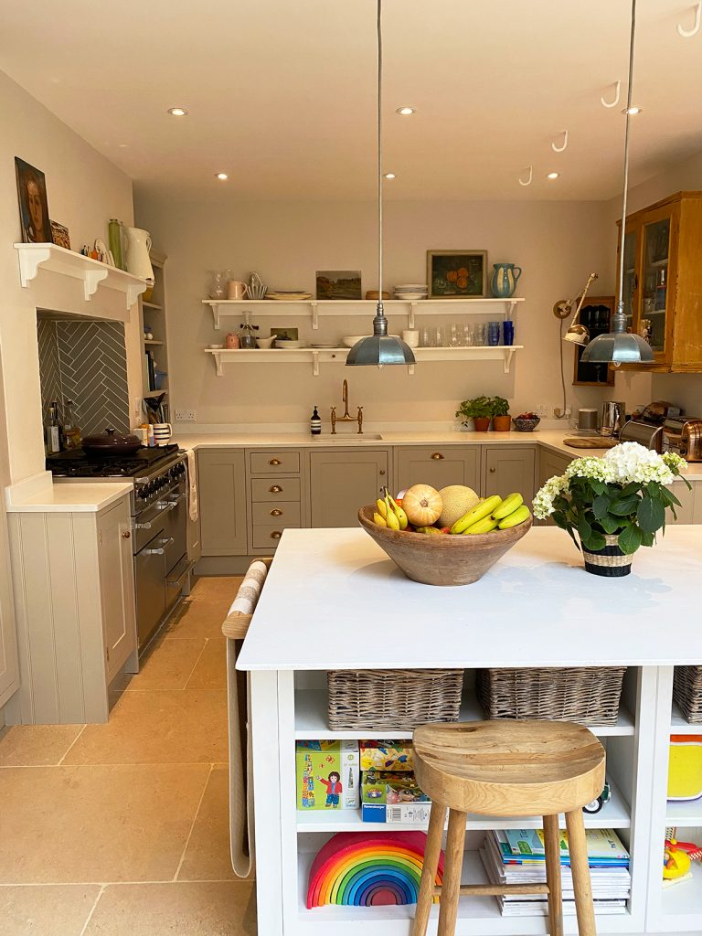 Kitchen with open shelving, kitchen island, Ben Pentreath lights at the home of Natalie Williams, Medium Room, Cirencester