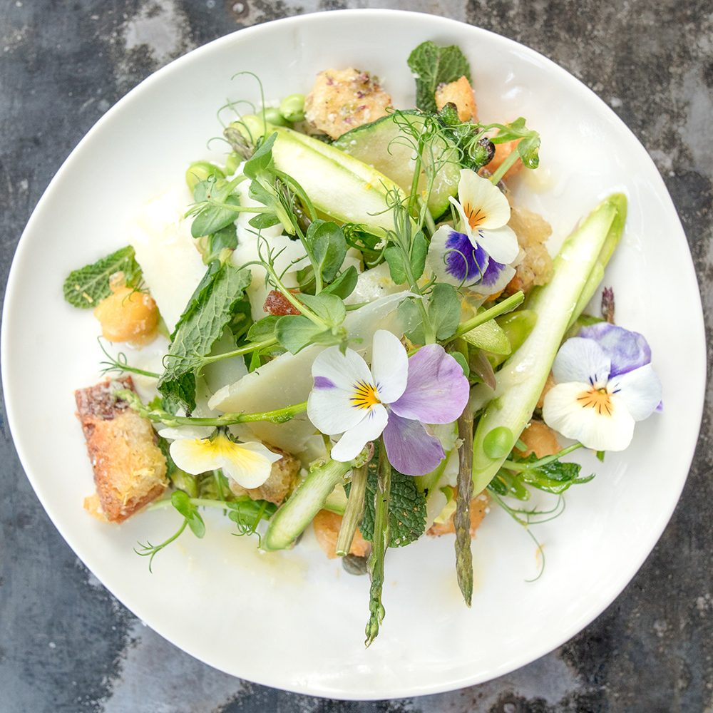 Petersham Nurseries' Spring Salad with Peas, Broad Beans & Pecorino