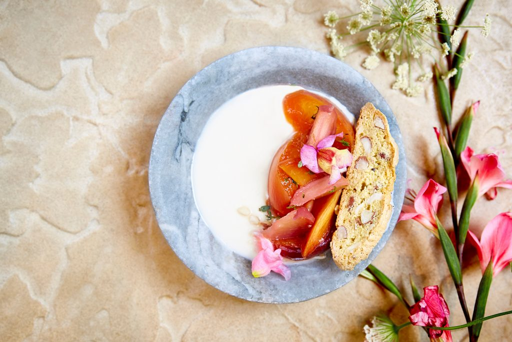 Petersham Nurseries Thyme Panacotta with Roasted Peaches & Almond Biscotti