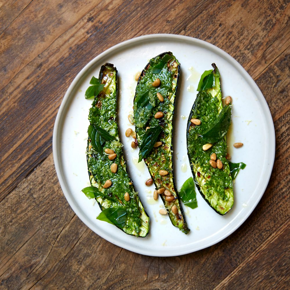Petersham Nurseries' Wood-Roasted Courgette with Pesto Genovese