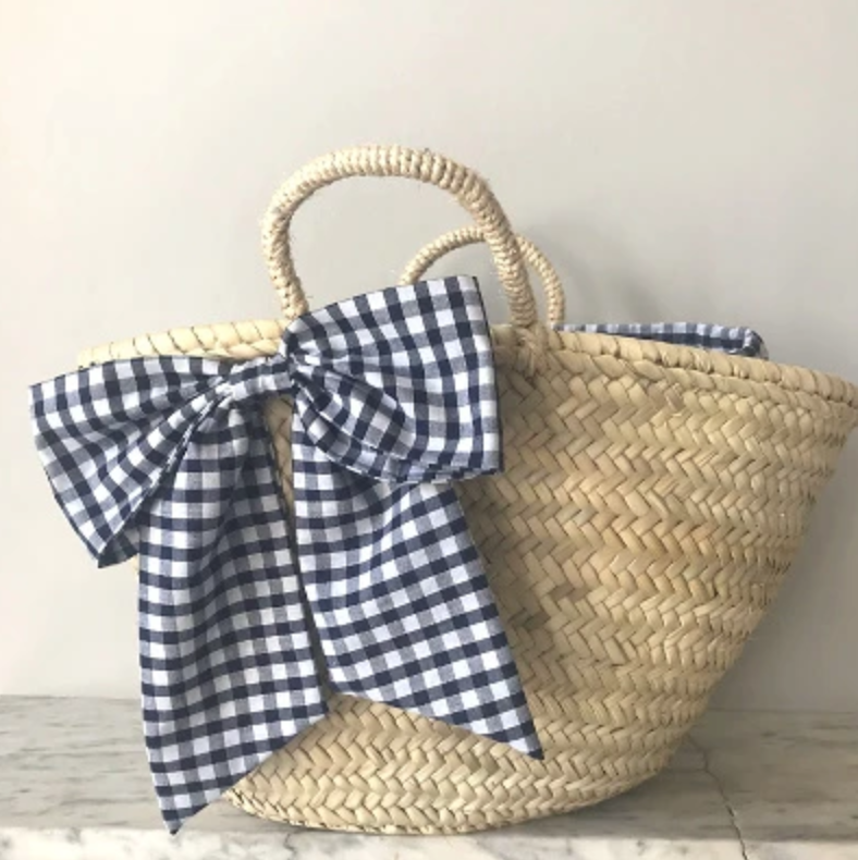 Gingham bow wicker basket , £50, edit58