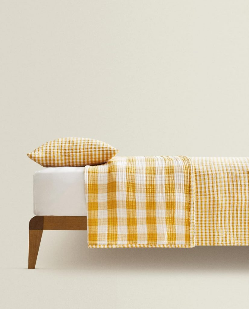 Gingham check bedspread in white and yellow, £69.99, Zara Home