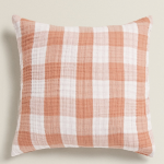 Gingham check cushion cover in white and peach, £17.99, Zara Home