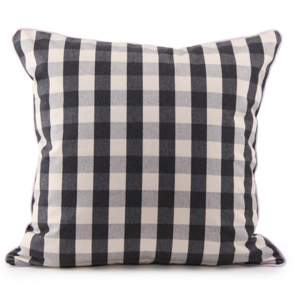 Black and white Gingham cushion with pink piping, £75, Ceraudo