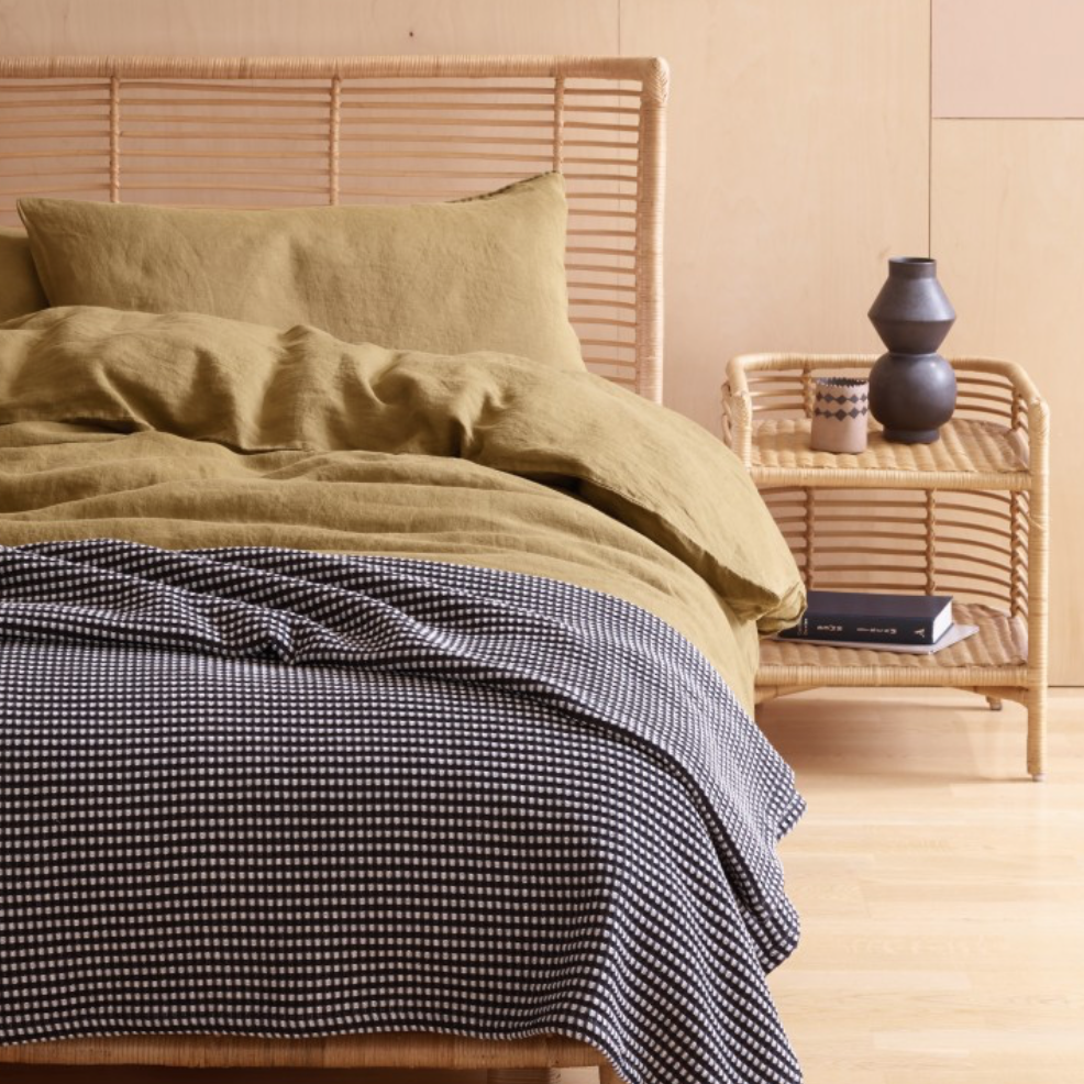Black and white Gingham waffle bedspread, £50, Habitat