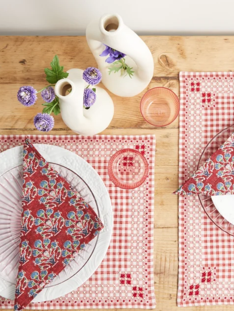 Lifestyle shot - D'Ascoli Ionna gingham linen placemats, £295 for four, Matches Fashion