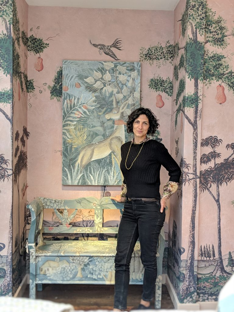 Melissa White's work at Kit Kemp pop-up Bergdorf Goodman