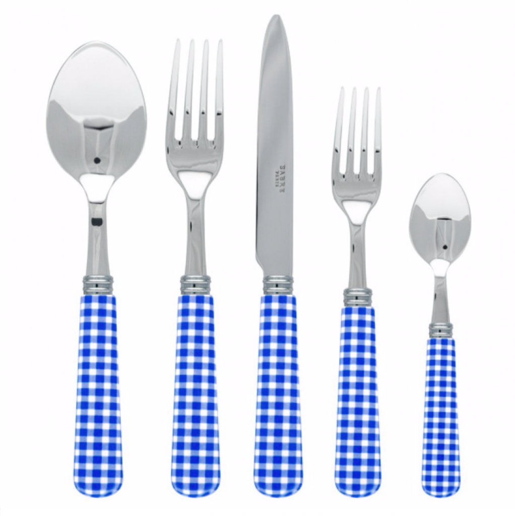 Sabre Paris Gingham Lapis Blue cutlery set, £60.95, David Shuttle
