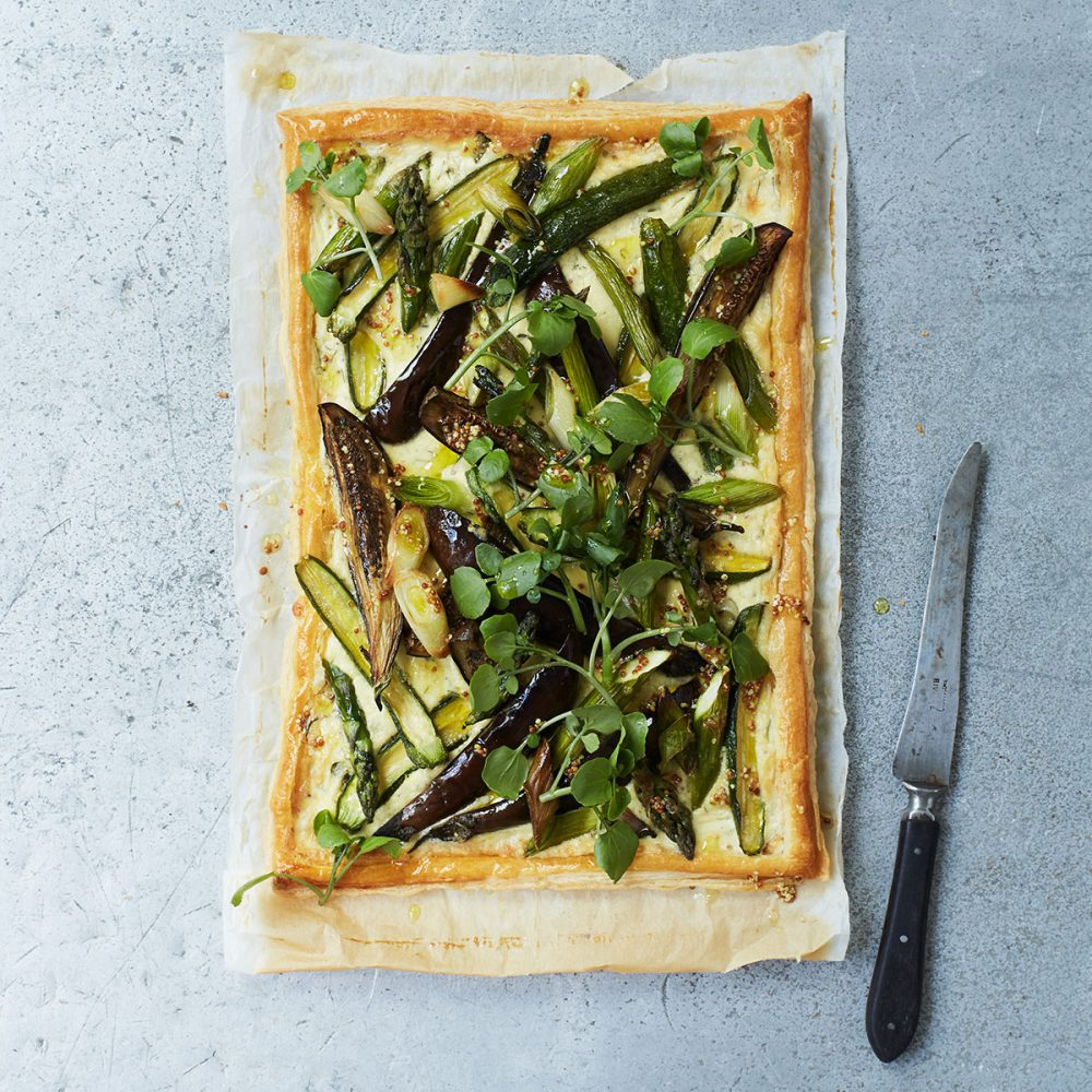Spring Vegetable Tart with Mustard Cream and Watercress
