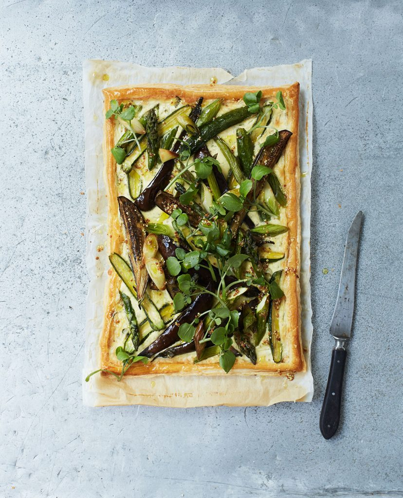 Spring vegetable tart with mustard cream and watercress from Smorgasbord Modern Scandinavian recipes by Peter's Yard and Signe Johansen