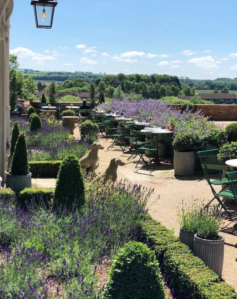 Tables and chairs on terrace with lavender and box hedging overlooking countryside in the grounds of The Talbot, Malton, part of the Country creatures group owned by Georgie and Sam Pearman