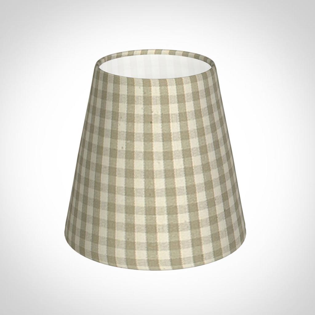 Tapered candle shade in natural gingham, £14, Jim Lawrence