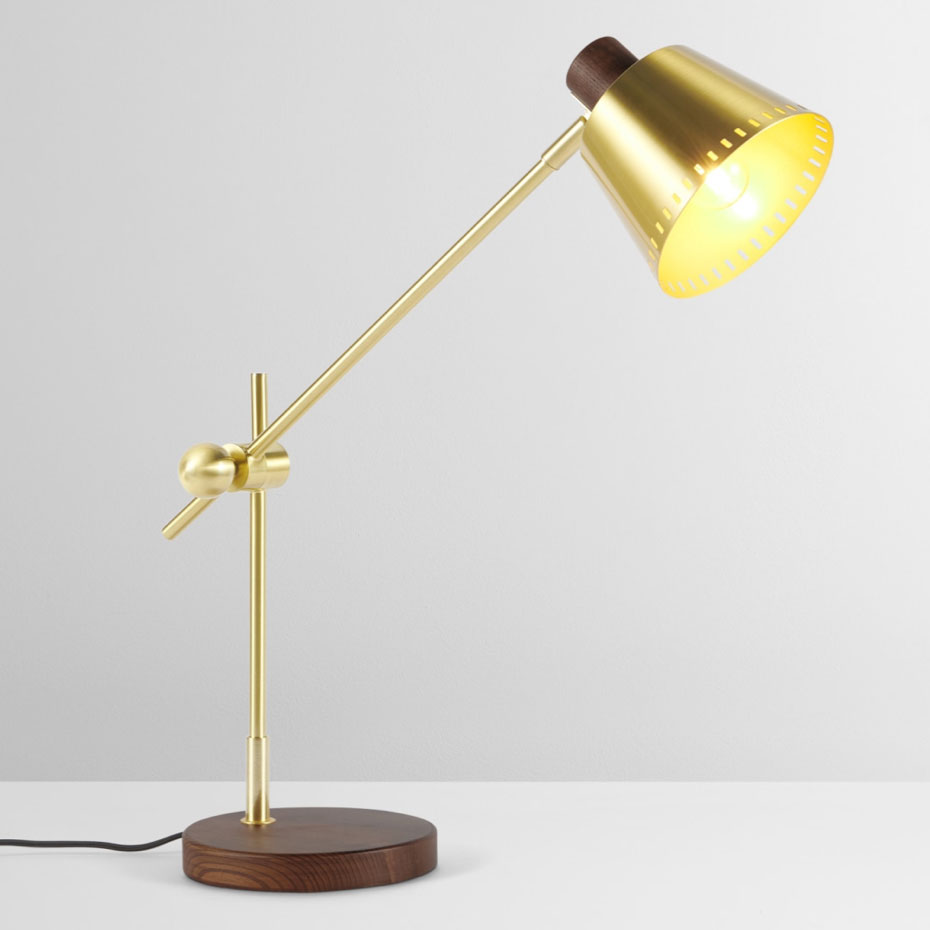 Aubin-brass and wood table-lamp,-£39,-made.com