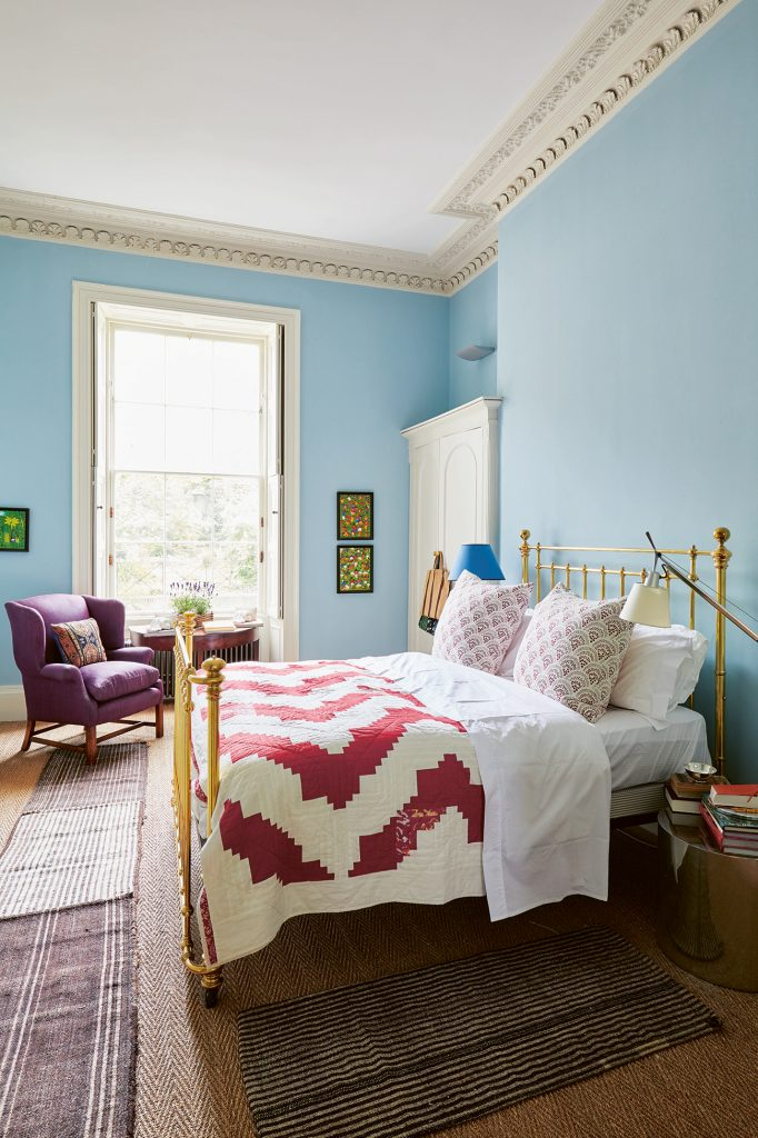 Emilio Pimentel-Reid Bold British Design blue bedroom ©Sarah Hogan