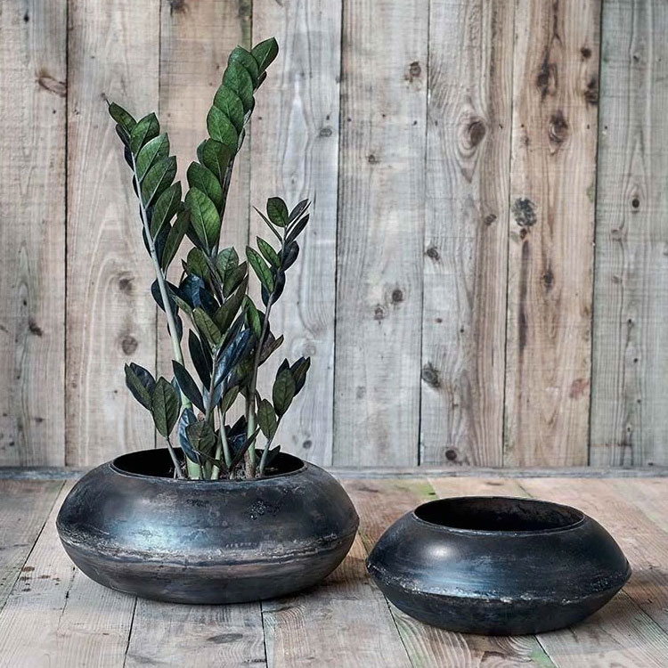 Endo-reclaimed-iron-round planter,-from-£29.95,-Nkuku