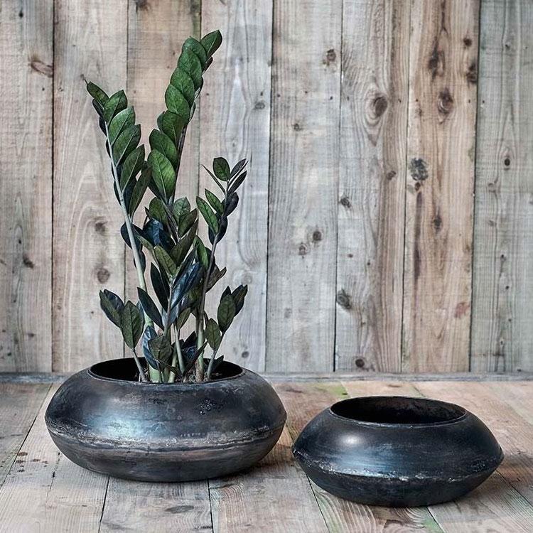 Endo-reclaimed-iron-round planter,-from-£29.95,-Nkuku