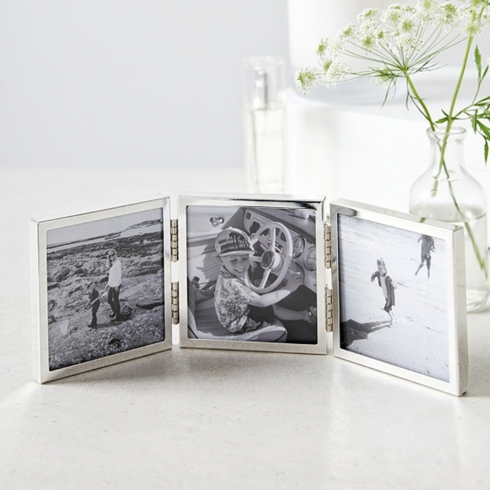Fine silver triple aperture hinged photoframe 3x3, £35, The White Company