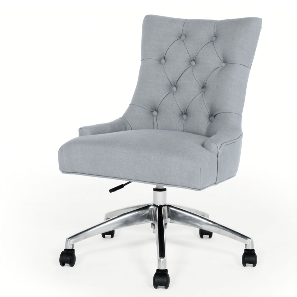 Flynn-grey upholstered button back office-chair,-£179,-made.com