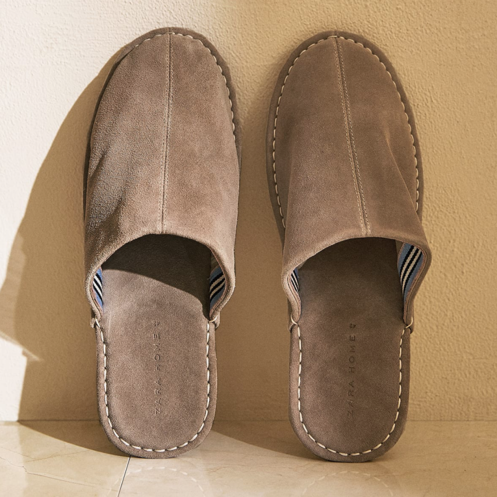 Leather slippers with topstitching detail, £27.99, Zara Home