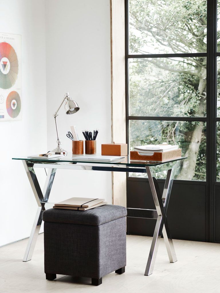 Glass and metal desk in home office with critical style doors, from a selection at Neptune
