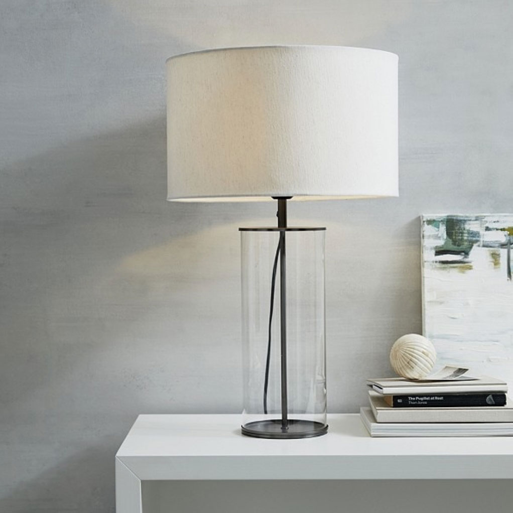 Pimlico-glass table-lamp with white linen lampshade,-£175,-The-White-Company