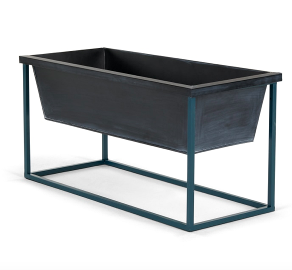 Noor Free Standing Low Galvanized Iron Rectangular Plant Stand, Black & Teal £55, Made.com