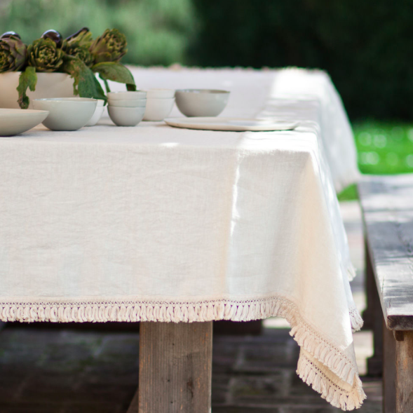 Linen table cloth with fringe, Once Milano