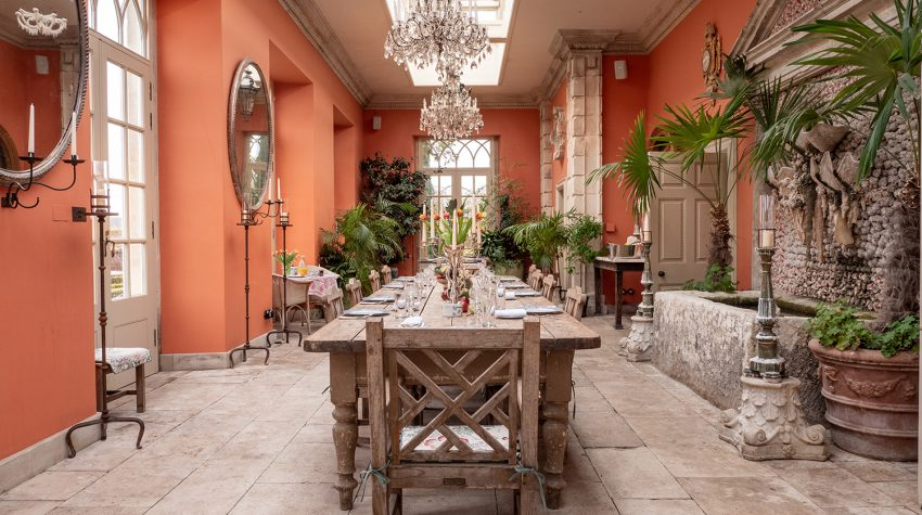 The Lost Orangery dining room Luxury Cotswold Rentals