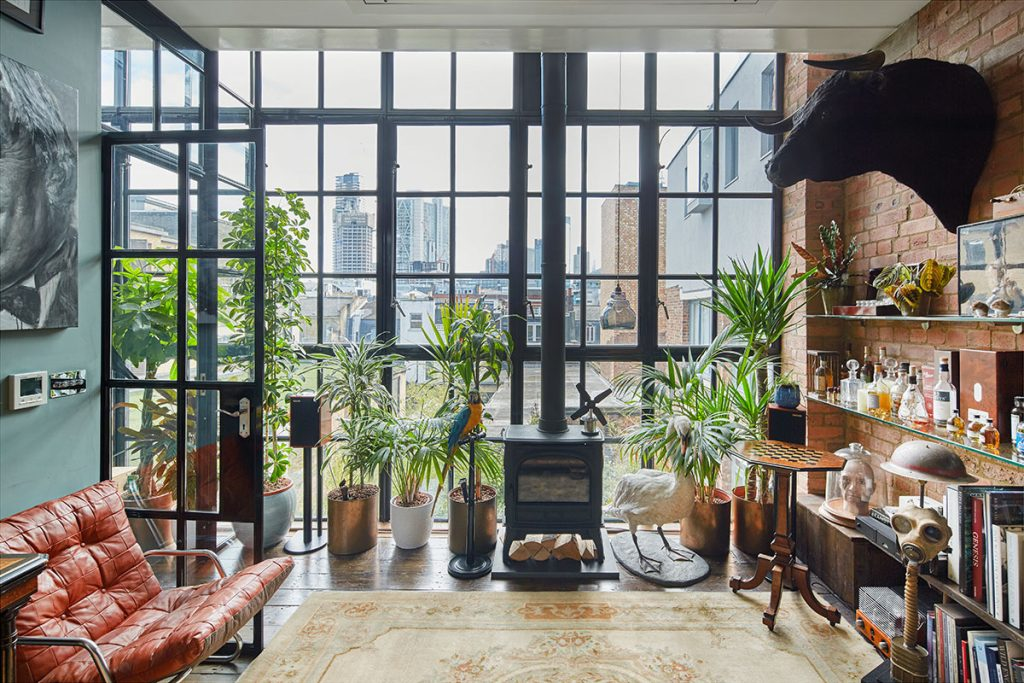 Floor to ceiling windows overlooking London at The Print House in Hoxton, London for sale from The Modern House