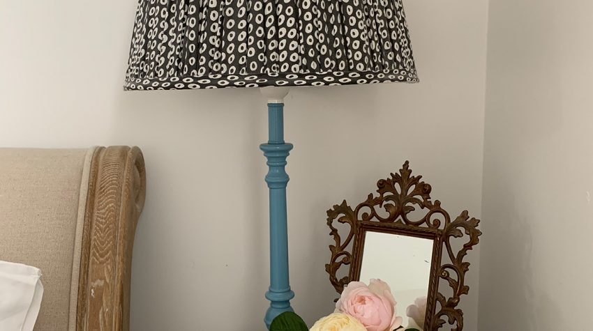 lamp with Farrow & Ball paint and Pooky lamp shade and roses
