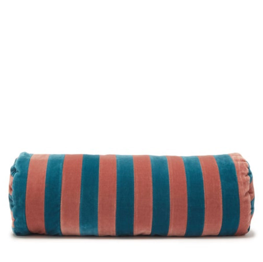 Christina-Lundsteen-cylindrical-cotton-velvet-bloster-cushion,-£90,-Matches-Fashion
