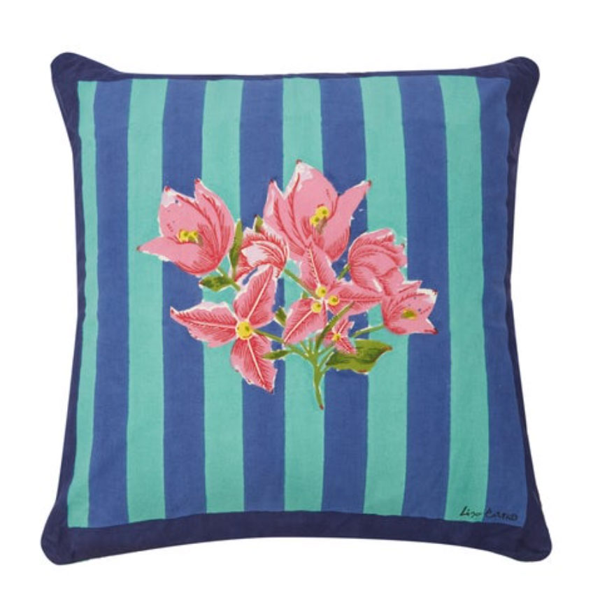 Issimo-X-Lisa-Conti-Bougainvillea-stripes-cotton-cushion,-£100,-Matches-Fashion