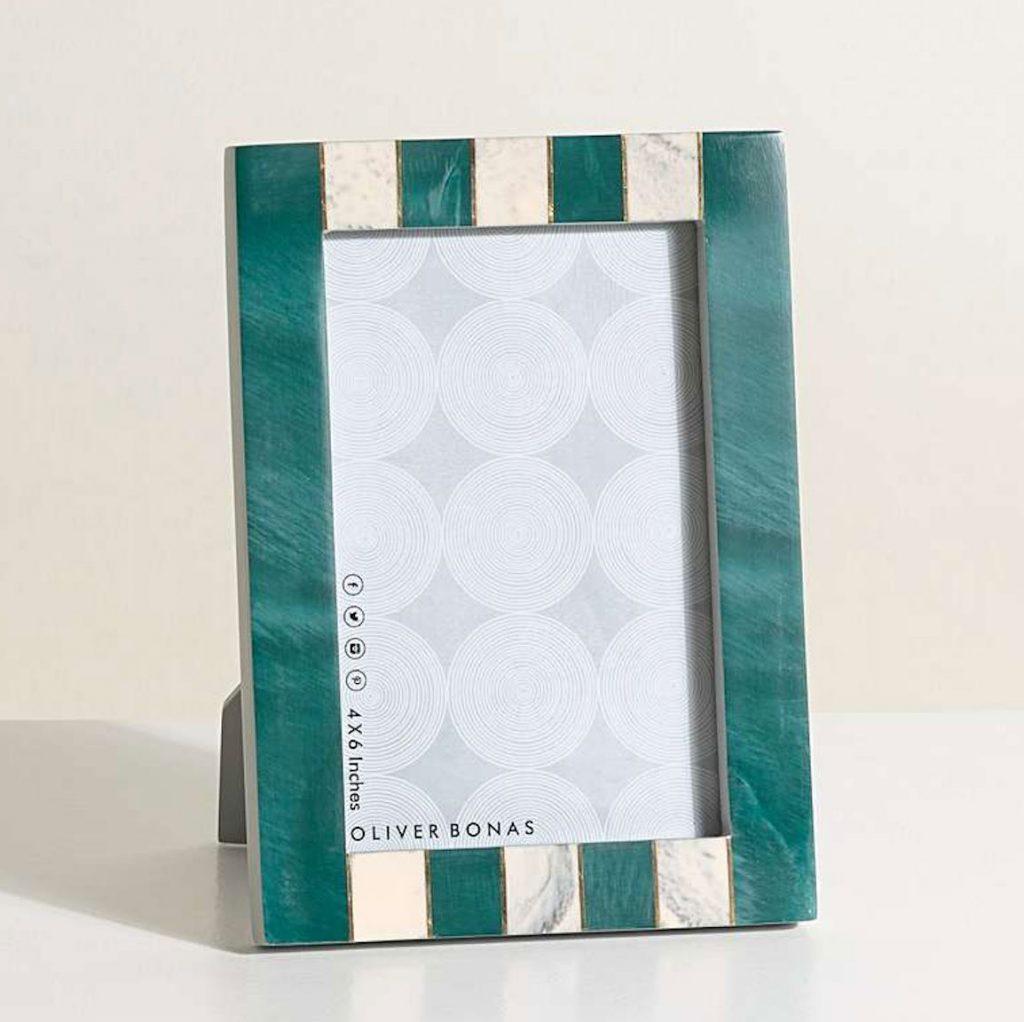 Modena-striped-teal-photo-frame-6x4in,-£18,-Oliver-Bonas
