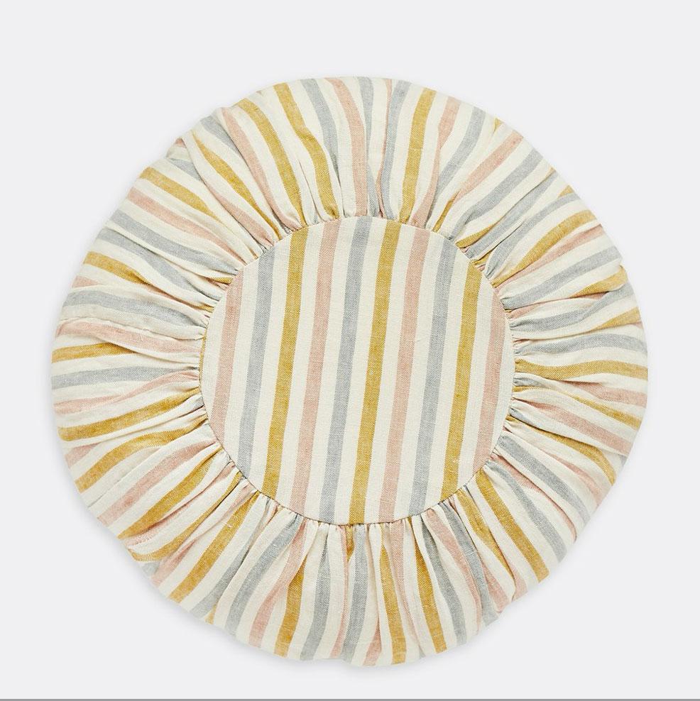Projektityyny-summer-stripe-round-cushion,-£65,-The-Hambeldon