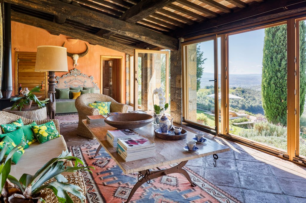 Sassi Castello di Vicarello living room with a view