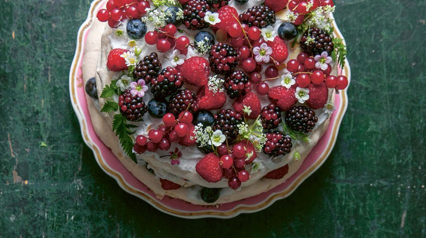Summer berry cloud cake from Skye McAlpine's book, A Table For Friends